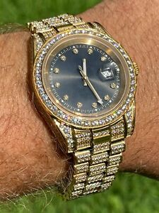 Mens Presidential 14k Gold Over Stainless S. Watch Iced 12ct Flooded Out Diamond