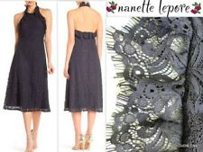 NWT NANETTE LEPORE Size 2 Ruffled Halter Lace Overlay A-line Midi Dress $169