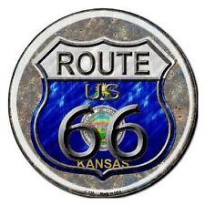 "Indoor/Outdoor Route 66 Kansas Metal Round Circular Sign 12"""