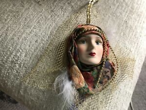 WALL FACE MASK woman PORCELAIN HAND PAINTED FABRIC BEADS MATERIAL MIXED MEDIA