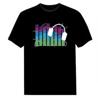 Sound Activated Light Up Flashing Rock Disco Equalizer LED T-Shirt Top Fashion