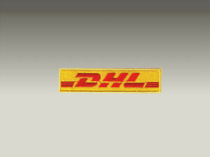 3 PATCH TOPPE DHL CORRIERE LOGO RICAMATE TERMO ADESIVE 10X3Cm