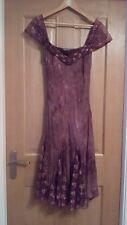 Per una sz 14 dress brown stretch lined mesh gored lower panels sleeveless