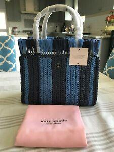 Kate Spade sam stripe straw medium satchel $198 blazer blue multi