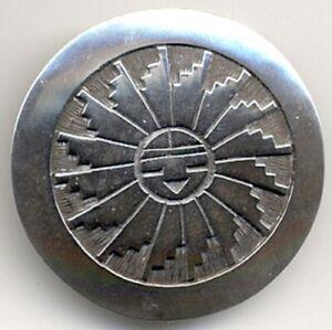 Signed Sterling Silver Sun-face Kachina Pendant/ Pin