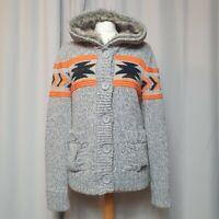 SUPERDRY Grey Chunky Knit Cardigan (Size M/UK 10-12) Fair-Isle Fur Trim Hood
