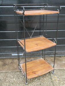 Folding Wrought Iron/Wooden 3 Tier Shelf Unit