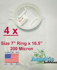 """4x Filter Sock 7"""" Ring x 16 .5"""" 200 Micron Mesh Polyester High Quality Aquarium"""