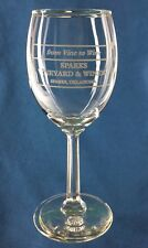 "Sparks Vineyard & Winery Vine to Wine Souvenir Glass Oklahoma 6.5"" Barware"