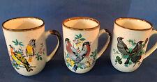 3 earthenware pottery coffee tea cups mugs set painted birds country farmhouse