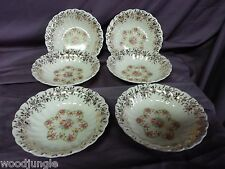 6 Antique ART DECO AMERICAN LIMOGES FORTUNE BERRY BOWLS CUPS   ITC-S264X 1947