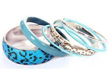 Women's Fashion Animal Print Turquoise & Silver Bangles Bracelet Set Turquoise