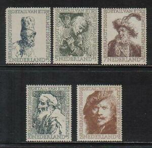 Netherlands 1956 Rembrandt semipostal--Attractive Art Topical (B291-95) MH