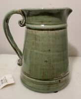 New Avocado Green Distressed Heavy Pottery Stoneware Drink Pitcher Home Decor