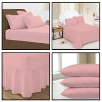 Baby Pink Plain Dyed Fitted Flat Valance Bed Sheet Single Double King Pillowcase