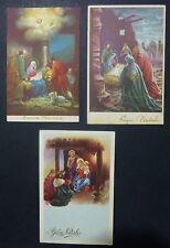 Lot 3 Postcards-Christmas-Merry Christmas-crib -'50 years