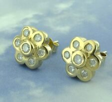 Pre owned 14k Yellow gold Cluster Natural Diamond Stud earring  0.80 ct