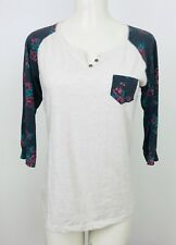 Rue 21 Top size Large Womens 3/4 Sleeve Shirt Floral Sleeve Ragland Casual