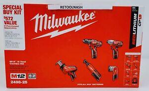 NEW Milwaukee 2498-25 M12 5-Tool Combo Kit