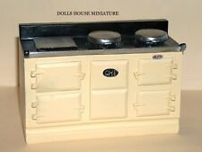 Cream Aga Stove, Doll House Miniature, Kitchen Furniture, Oven Cooker
