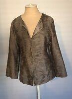 Eileen Fisher Womens Taupe Layered Silk Blazer Jacket Small