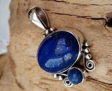 So Beautiful Sterling Silver Natural Lapis Lazuli Artisan Balinese Pendant 925