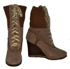 "Steve Madden ""Delanow"" Taupe Genuine Suede Lace-Up Long Ankle Boot Size 8M"