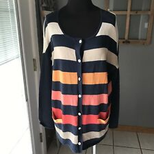 J.Jill Navy Orange Coral Beige Striped Linen Cotton Thin Knit Cardigan Sweater S
