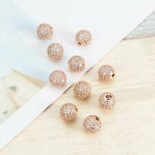 10 Pcs/lot Platinum Cubic Zirconia Beads 8mm Brass Gold Clear Crystal Disco Ball