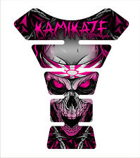 Kamikaze Pink Skull  Motorcycle Gel Gas tank pad tankpad protector Decal