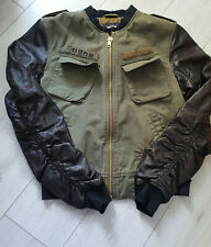TIGHA Herren  Teil Leder Jacke Jenson mit Print  Millitary Green Size