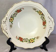 "ADAM ANTIQUE Steubenville 10"" Round Gilded Porcelain Floral Serving Bowl MINT"