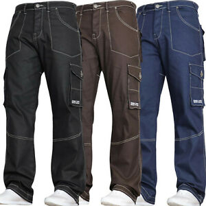 Mens Stretch Combat Jeans Cargo Work Pants Trousers Waist Sizes DENIM AND DYE