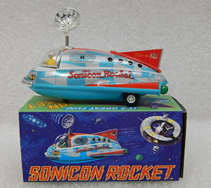 Almost vintage Retro Sonicon Rocket Tin Litho Pull Back Space Ship Toy NIB