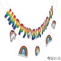 Unicorn Garland Banner Rainbow Hanging Ceiling Wall Birthday Party Decoration