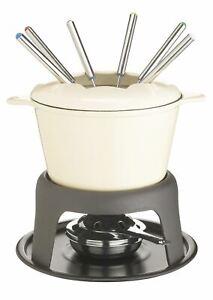 2x MasterClass Cast Iron Enamelled Cream Fondue Set