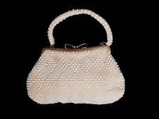 Vintage Purse Ivory Plastic Bead Hand Bag Geometric 1950S