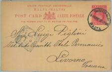 82627  - MALTA - Postal History - POSTAL STATIONERY CARD to ITALY  1908