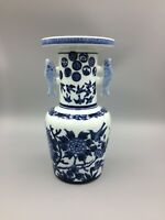 Vintage Japanese Porcelain Fish Birds Flowers Blue and White Vase