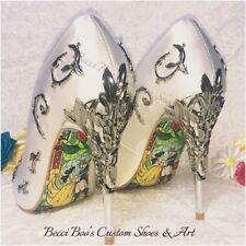 La Bella Y La Bestia inspirado Boda Zapatos de satén blanco con tacones de hoja de metal