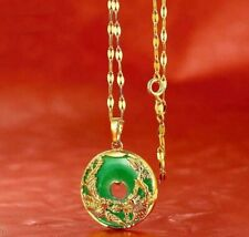 24K Gold Plated Dragon Phoenix Pendant Malaysia Jade Jewelry Chain Necklace 1""