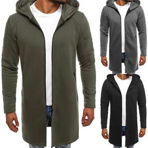 Mens Plain Zip Cardigan Jacket Coat Hoodies Hooded Sweatshirt Long Parka Outwear