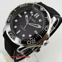 41mm bliger shallow waves black dial sapphire glass date automatic mens watch