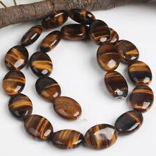 1 Strang 13x18mm Natur Tigerauge Oval Perlen f. Halskette Armkette Armband DIY