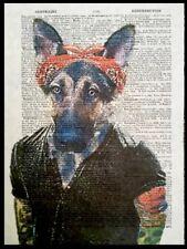 Alsatian Dog Vintage Dictionary Wall Art Picture Print German Shepherd Tattoos