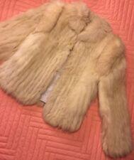 VINTAGE 80s Fox Fur Silver White Coat Womens Medium Jacket ❄️ Warm ARCTIC BLUE