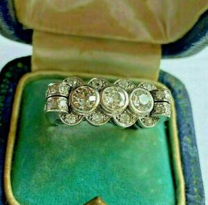 Men's Engagement & Wedding Three Stone Ring 14K White Gold 2.4 Ct Round Diamond