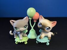 Littlest Pet Shop 126 5 White Kitty Cat Grey & Blue Eyes Red Magnet Authentic