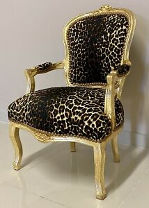 French Louis Style Shabby Chic Chair Leopard Animal Print Fabric with Gold Frame
