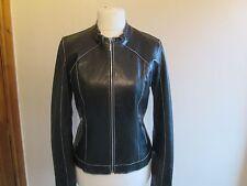 GIPSY Ladies black REAL LEATHER biker style jacket size 12/14